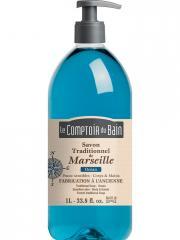 Le Comptoir du Bain Savon Traditionnel de Marseille Océan 1 L - Flacon-Pompe 1 L