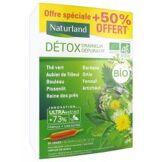 Naturland Détox Draineur Dépuratif Bio 20 Ampoules Buvables de 10 ml + 10 Ampoules Offertes - Boîte 30 ampoules de 10 ml