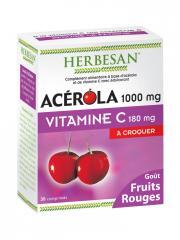 Herbesan Acérola 1000 mg Vitamine C 180 mg à Croquer 30 Comprimés - Boîte 30 Comprimés