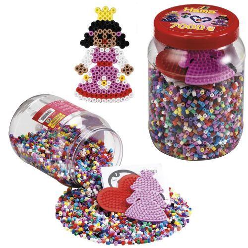 Hama Pot de 7000 Perles et 2 petites plaques princesses et cœur Hama - Perle