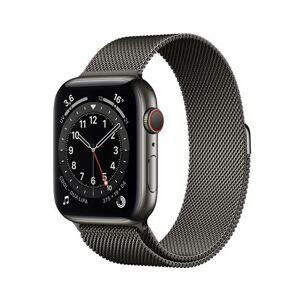 Apple Watch Series 6 GPS + Cellular, 44mm boitier acier inoxydable graphite avec bracelet milanais graphite - Publicité