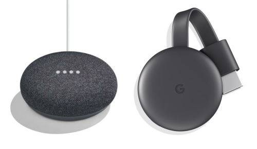Google Home Mini Assistant Vocal Charbon + Chromecast - Enceinte intelligente