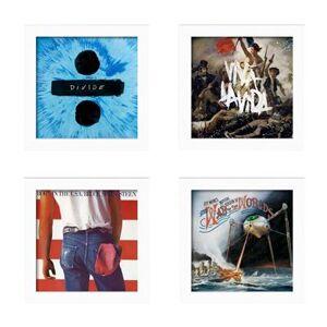 Lot de 4 Cadres blancs pour disques vinyles à ouverture frontale Show and Listen - Publicité