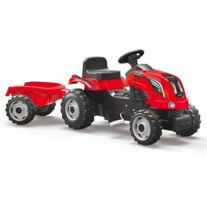 Smoby Tracteur Farmer XL Rouge Smoby + Remorque - Véhicule à pédale - Publicité