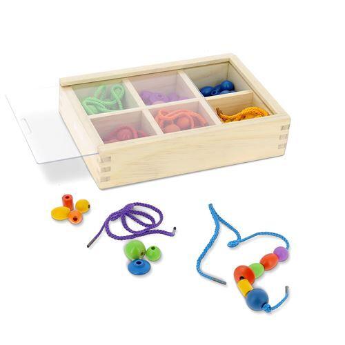 Nature et Découvertes Boîte de perles en bois Nature et Découvertes Montessori - Jouet à manipuler