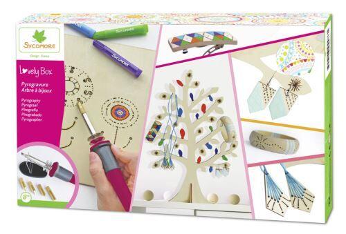 Au Sycomore Kit créatif Sycomore Pyrogravure Arbre à bijoux Bijoux en bois Lovely Box XL - Kit loisir créatif