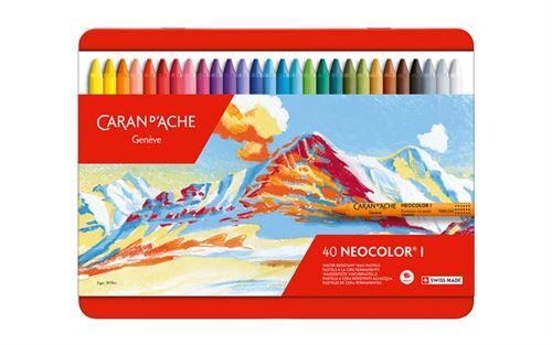 Caran D'Ache Neocolor I - Crayons Pastels cire soluble dans l'eau - Boîte de 40 - Peinture