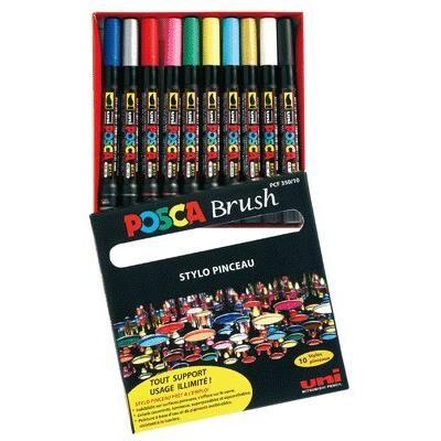 POSCA Marqueur Posca brush coloris assortis - boite de 10 - Autres accessoires de dessin et peinture