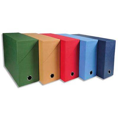 VISIODIRECT Lot de 5 boîtes de transfert, carton rigide recouvert de papier toilé, dos 9 cm, 34 x 25,5 cm, assortis - Autres accessoires de dessin et peinture