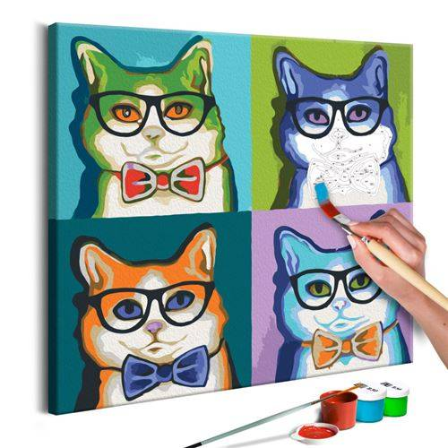 Artgeist Tableau à peindre par soi-même - Chats avec lunettes - Artgeist - 40x40 - Peinture