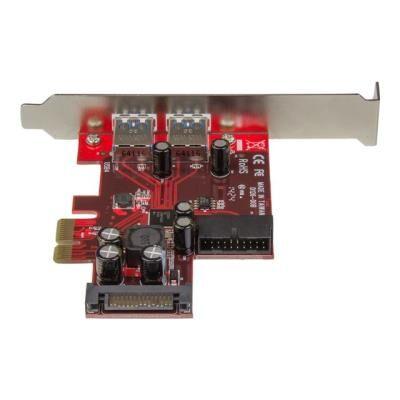 StarTech.com Carte contrôleur PCI Express à 4 ports USB 3.0 - 2 externes 2 internes - Adaptateur PCIe avec alimentation SATA - adaptateur USB - Switch réseau
