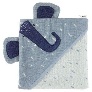 Trixie serviette de bain Mrs. Elephant75 x 75 cm coton biologique bleu - Gants - Sorties de bain - Serviettes