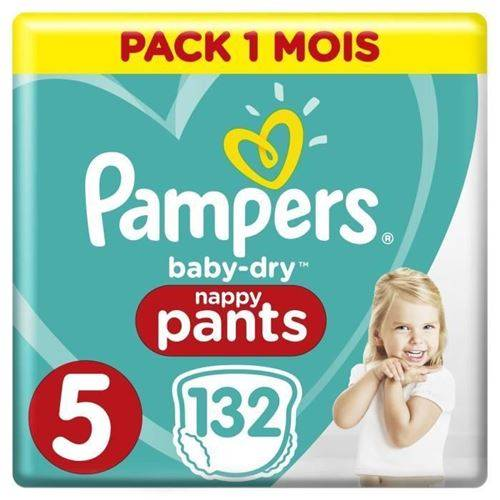 Pampers Baby-dry Pants Taille 5, 12-17kg, 132 Couches - Pack 1 Mois - Couche