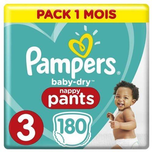 Pampers Baby-dry Pants Taille 3, 180 Couches-culottes - Pack 1 Mois - Couche