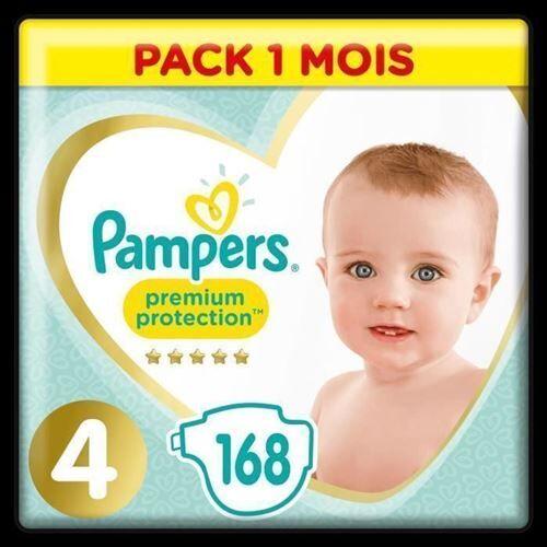 Pampers Premium Protection Taille 4 8-16 Kg - 168 Couches - Pack 1 Mois - Accessoires de change