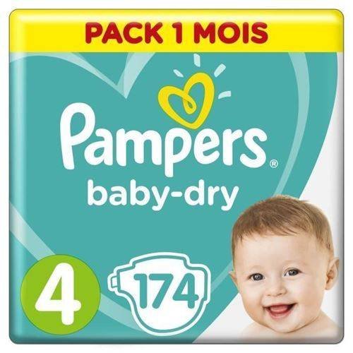 Pampers Baby-dry Taille 4, 9-14 Kg - 174 Couches - Pack 1 Mois - Accessoires de change