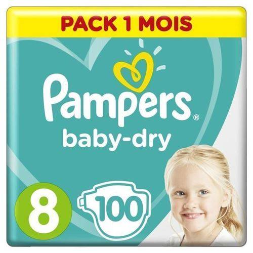 Pampers Baby-dry Taille 8 - 100 Couches - Pack 1 Mois - Couche