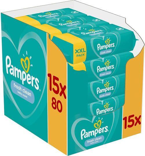 Pampers Lingettes Bébé - Pampers Fresh Clean - Lot de 15 Paquets de 80 (1200 Lingettes) - Lingettes bébé