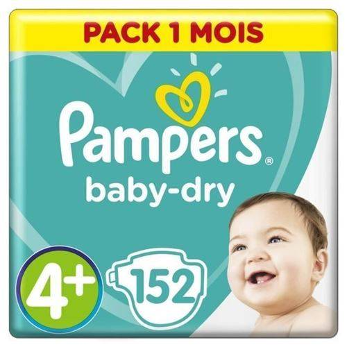 Pampers Baby Dry Taille 4+ - 9 A 18kg - 152 Couches - Format Pack 1 Mois - Accessoires de change