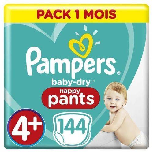 Pampers Baby-dry Pants Taille 4+ - 144 Couches - Pack 1 Mois - Couche