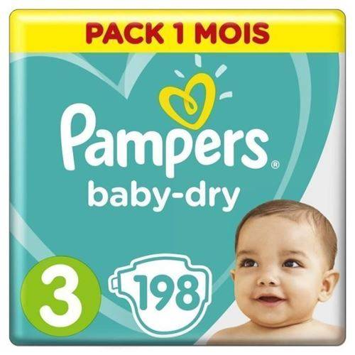 Pampers Baby Dry Taille 3 - 5 A 9kg - 198 Couches - Format Pack 1 Mois - Accessoires de change