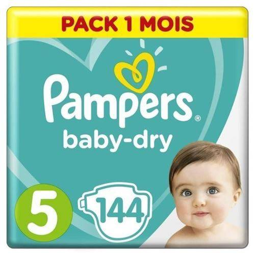 Pampers Baby Dry Taille 5 - 11 A 23kg - 144 Couches - Format Pack 1 Mois - Accessoires de change