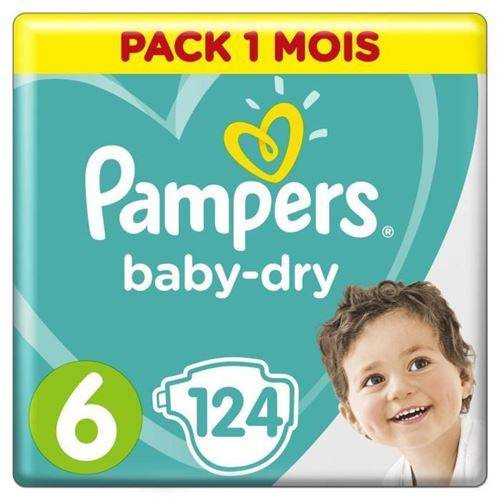 Pampers Baby Dry Taille 6 - Des 15 Kg - 124 Couches - Format Pack 1 Mois - Accessoires de change