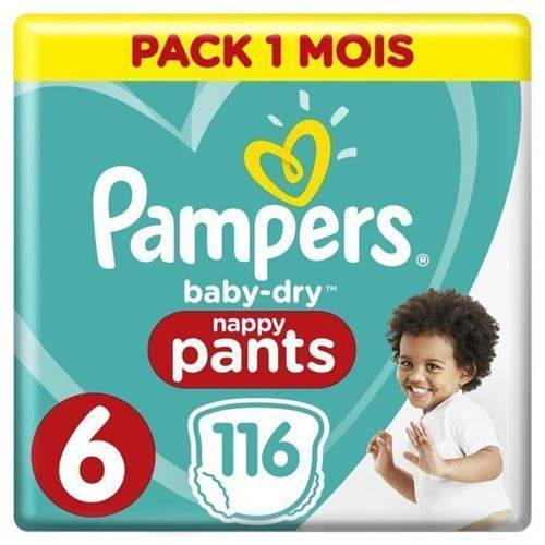 Pampers Baby-dry Pants Taille 6, 15kg+, 116 Couches - Pack 1 Mois - Couche