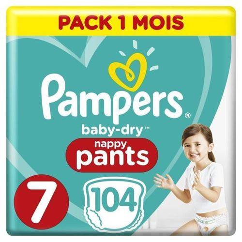 Pampers Baby-dry Pants Taille 7, 17+kg, 104 Couches Pack 1 Mois - Couche