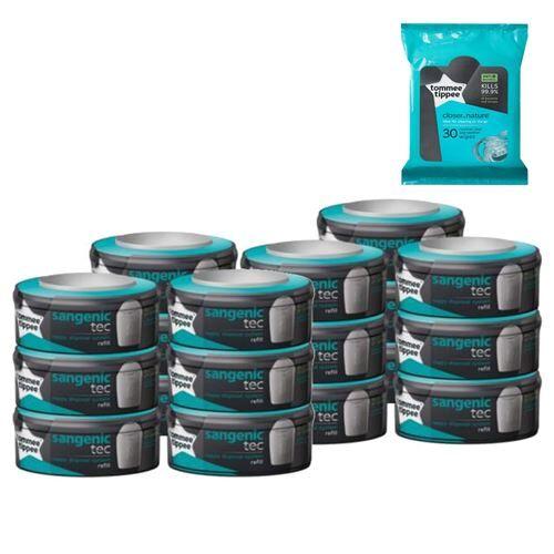 Tommee Tippee Sangenic TEC Lot de 18 recharges pour poubelles + 30 lingettes - Accessoires de toilette