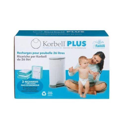 KORBELL Pack de 3 Recharges 26L Plus - Poubelle à couches