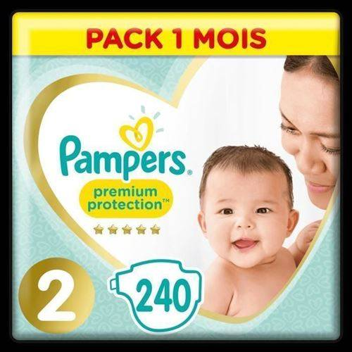 Pampers Premium Protection New Baby Taille 2 - 4 A 8kg - 240 Couches - Format Pack 1 Mois - Accessoires de change