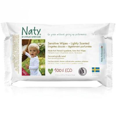 NATY Lingettes écologiques parfumées - 56 pcs - Lingettes bébé