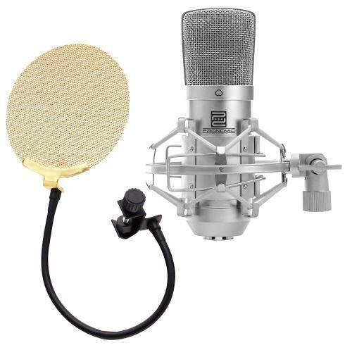 pronomic cm-10 studio microphone condensateur set incl. filtre anti pop en or - microphone