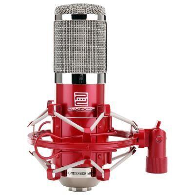 pronomic cm-100r studio microphone condensateur incl. suspension & filtre anti pop en rouge - microphone