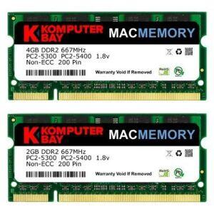 Komputerbay Mac Memory Kit 6 Go (4 Go + 2 Go Modules) Pc2-5300 Ddr2 667 Mhz Sodimm Pour Apple Imac Macbook Pro - Clé USB