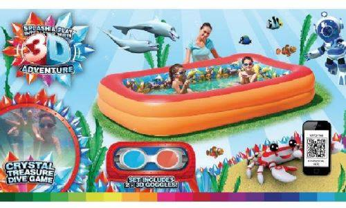 mgm piscine gonflable 3d : 262 x175 x 51 cm - jeu / piscine gonflable