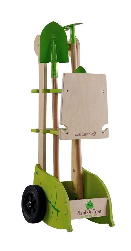 EverEarth - EE33711 - Chariot de jardinage avec outils - Vert citron et Beige - Atelier de Bricolage
