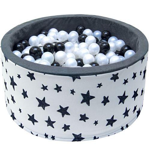 WELOX Piscine 200 balles Ø 90 cm pour bébé Blanc à étoiles - Jeux d'éveil