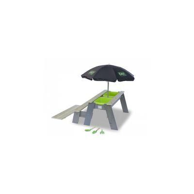 EXIT Aksent Table sable, eau et pique-nique +1 Banc + Parasol + Outils Jardin - Autre jeu de plein air