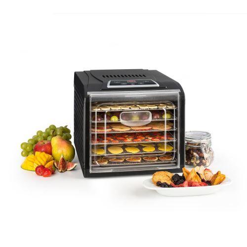 klarstein fruit jerky plus 6 déshydrateur alimentaire 6 plateaux - température réglable - minuterie programmable - 500w - accessoires de rangement