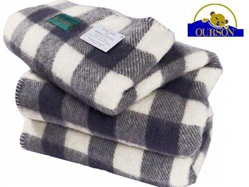Ourson Couverture laine bio ourson 400 gr carreaux gris 220x240 - Couvertures - Edredons - Couettes