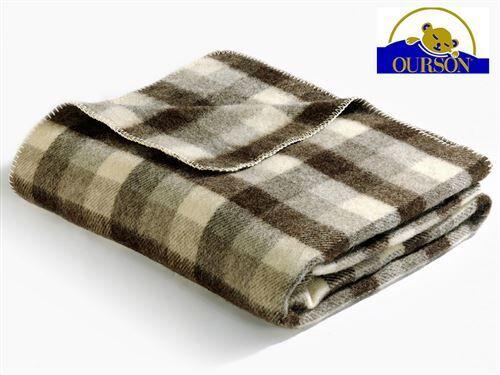 Ourson Couverture laine bio ourson 400 gr carreaux marron 240x260 - Couvertures - Edredons - Couettes