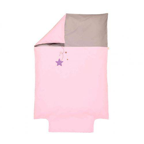 P'tit Basile Housse de couette bébé coton bio Pluie d'étoiles rose 100x140 cm - Parure de lit bébé