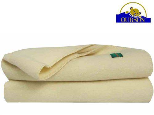 Ourson Couverture laine bio ourson 400 gr ecru 220x240 - Couvertures - Edredons - Couettes