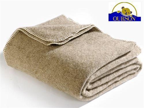 Ourson Couverture laine bio ourson 400 gr bizet 180x220 - Couvertures - Edredons - Couettes