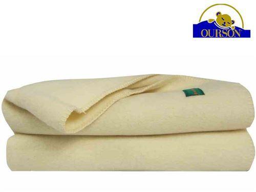 Ourson Couverture laine bio ourson 400 gr ecru 180x220 - Couvertures - Edredons - Couettes