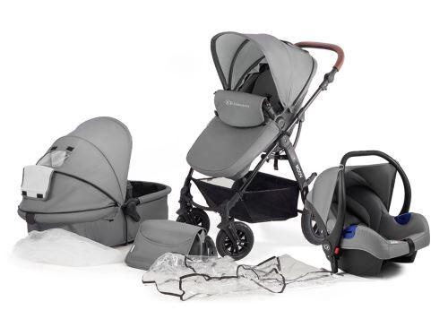 Kinderkraft Poussette / Landau 3 en 1 bébé combinée multifonctions avec accessoires Moov   gris - Poussette