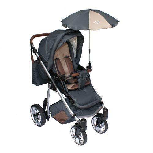 Skyline Poussette avec accessoires & cadre en aluminium et roues gonflables bébé enfant GT   Brune - Poussette