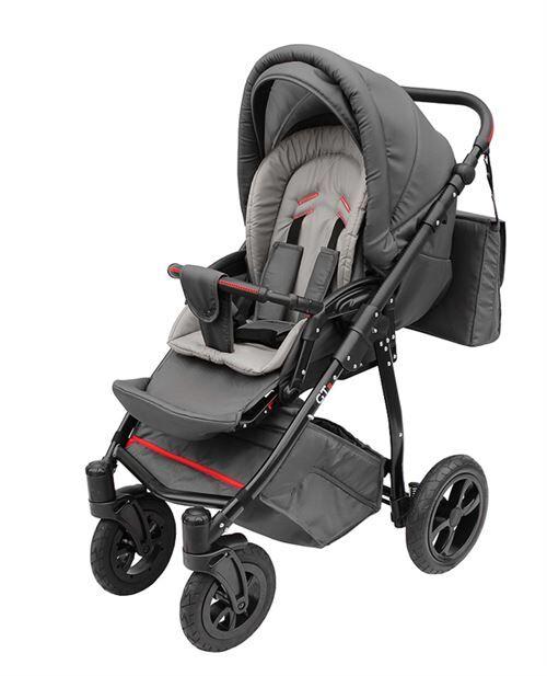 Skyline Poussette avec look sportif + accessoires & cadre en aluminium et roues gonflables bébé enfant GTr   Grise - Poussette